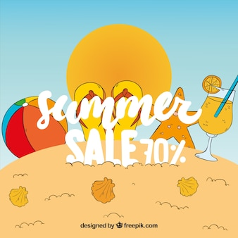 Sale background with hand drawn summer elements