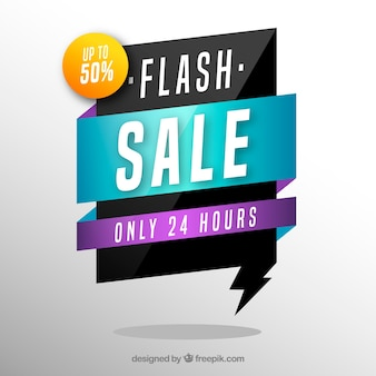 Sale background with origami shape