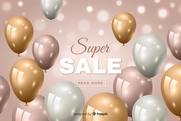 Sale background with realistic balloons