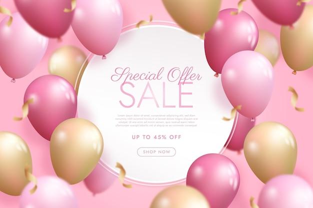 Продажа фона с реалистичными воздушными шарами