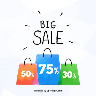 Fondo di vendita con i sacchetti della spesa nello stile dell'acquerello