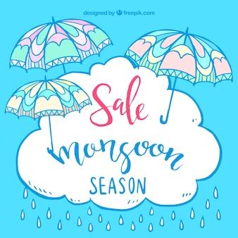Sfondo di vendita con ombrello e nubi di monsone