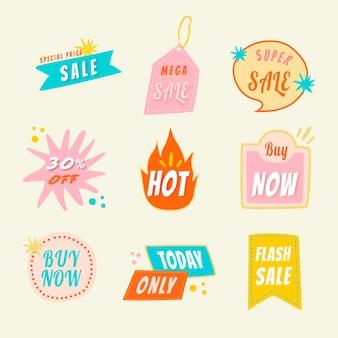 Наклейка значок продажи, каракули торговый клипарт векторный набор