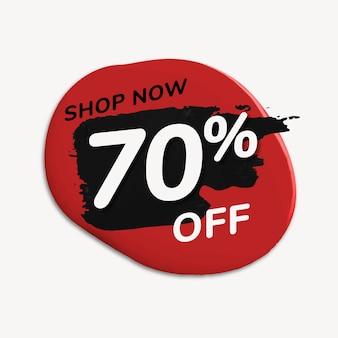 Adesivo distintivo di vendita, goccia di vernice astratta rossa, vettore di immagine dello shopping
