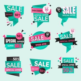 Adesivo distintivo di vendita, collezione di clipart per lo shopping vettoriale