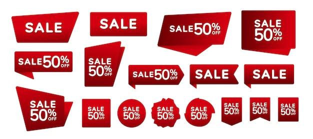 판매 배지 및 레이블 컬렉션. 빨간색 배너, 레이블, 태그, 모서리 세트