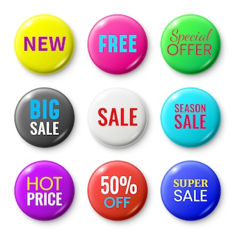 Sale badges buttons, special offer shop button, red new badge and season sale sticker circle isolated  set