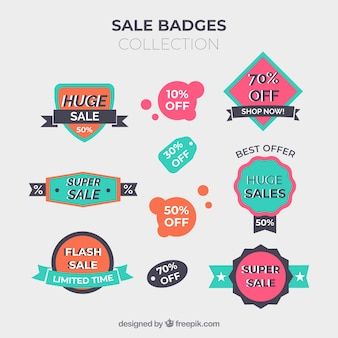 Sale badges collection in flat style