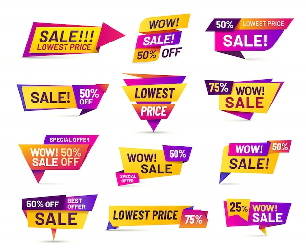 Sale badges. discount price tag sticker, vivid advertising offer and sales wow badge   set
