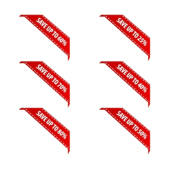 セールバッジは、製品の赤いコーナーリボンとバナーにラベルを付けます