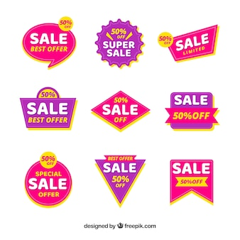 Sale badges with colorful style