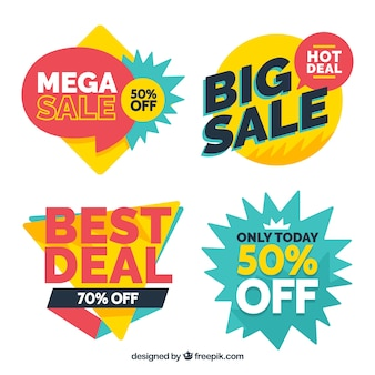 Sale badges with flat design