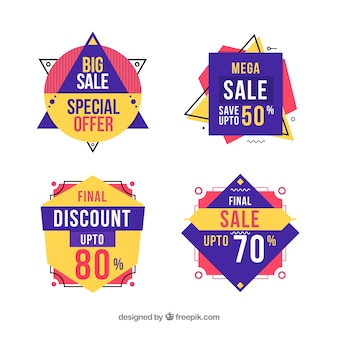Sale badges with geometric shapes