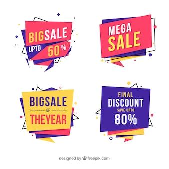 Distintivi di vendita con forme geometriche