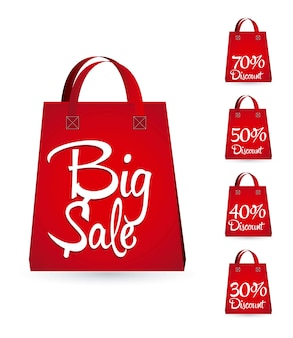Sale bags with discounts over white background vector
