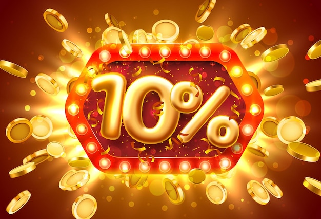 Распродажа баннер 10% скидка на номера с летающими монетами