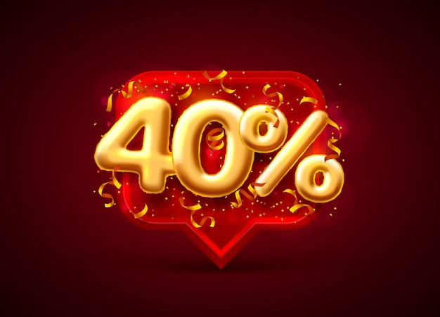 빨간색에 풍선 번호 40 % 할인 판매 배너