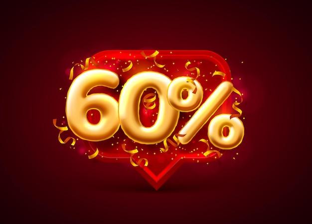 빨간색에 풍선 번호 60 % 할인 판매 배너
