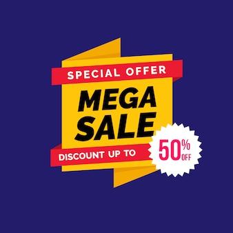 Origa、miスタイルの販売用バナー広告テンプレート。ビッグセール。メガ販売。ベストセール