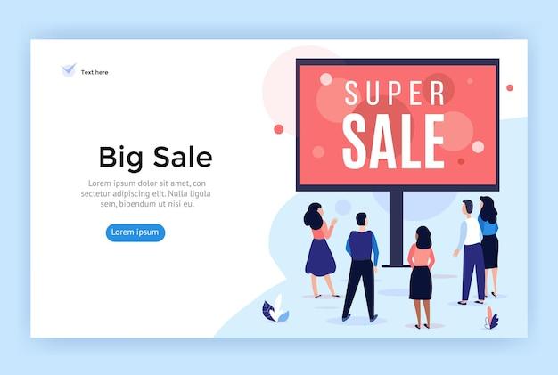 Продажа баннеров, рекламный щит, иллюстрация концепции продвижения бизнеса. вектор плоский стиль