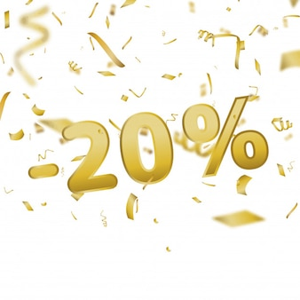 Sale banner card with 20 percent and gold confetti