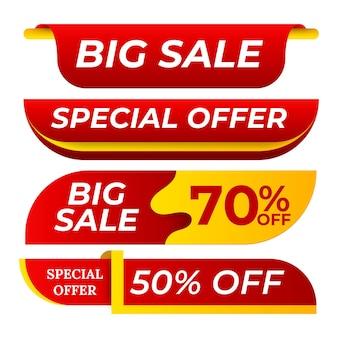 Vendita banner vettore di raccolta. adesivi per siti web, progettazione di pagine web a colori. elemento pubblicitario. sfondi per lo shopping. illustrazione isolata