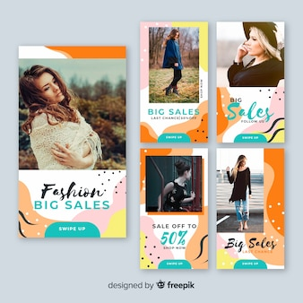Sale banner collection with photo