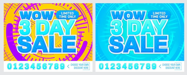 Sale banner on colorful background 3 day only
