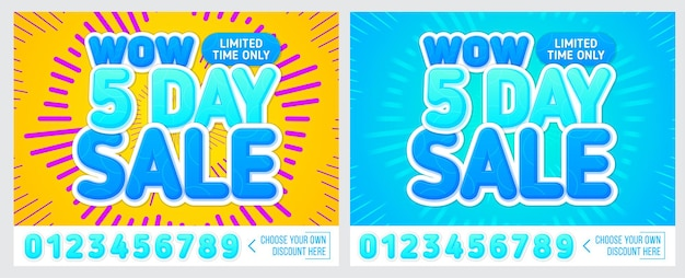 Sale banner on colorful background 5 day only