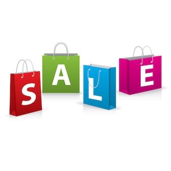 Banner di vendita. borse realistiche creative con vendita di parole