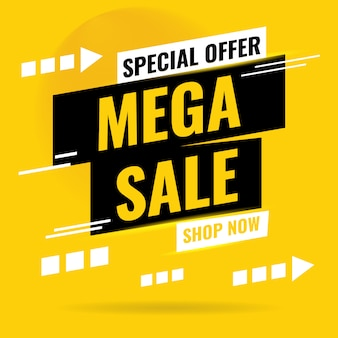 Sale banner design. mega sale special offer, shop now. vector illustration