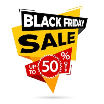 Sale banner design template black friday sale label up to 50% off isolated vector illustration
