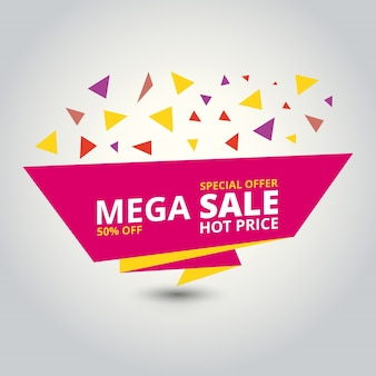 Sale banner design template with triangles