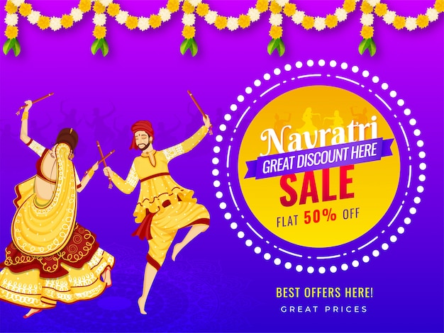 Sale banner design with 50% discount offer and illustration of couple playing dandiya on the occasion of navratri festival.