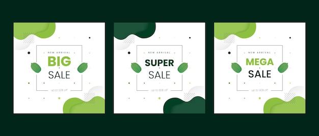 녹색 색상과 잎 개체가 있는 판매 배너 디자인