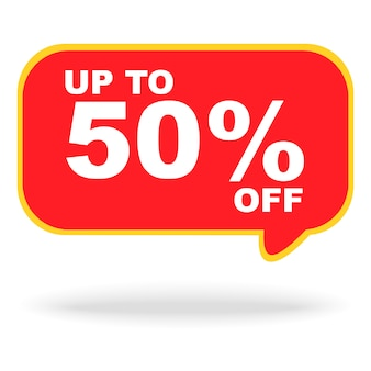 Sale banner discount up to 50% on red chat sign banner for sale promotion event isolated