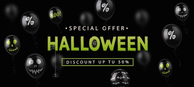 Sale banner for halloween holiday with black balloons on black background.
