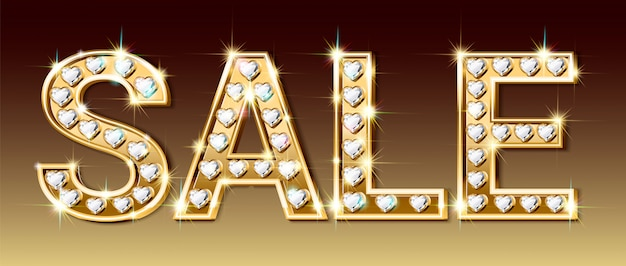 Sale banner, letters of gold and sparkling diamonds in the shape of a heart.
