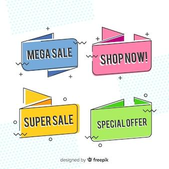 Sale banner memphis style set
