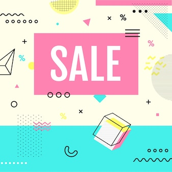 Sale banner memphis style with geometric shapes in pastel color.