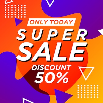 Sale banner memphis style with liquid background