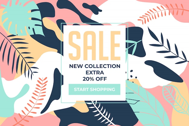 Sale banner new collection with colorful plants floral