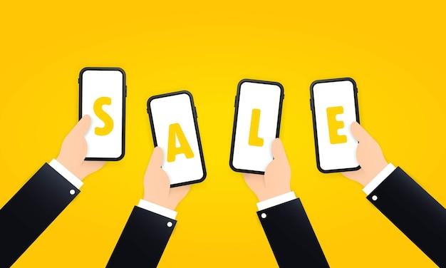 Продажа баннеров или рекламы, вектор скидок.
