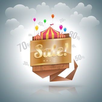 Sale banner origami gold.