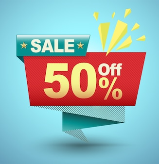 Sale banner origami paper style for promotion advertising.