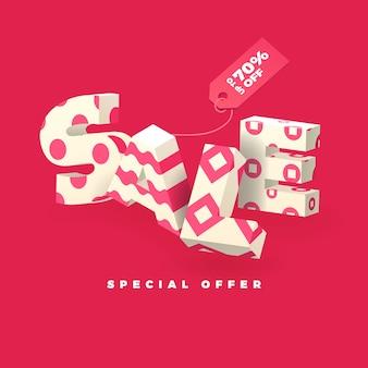 Sale banner in pink color, 3d invert letters