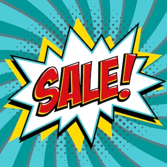 Sale banner in pop art comic style