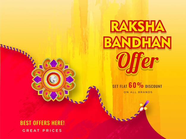 Sale banner or poster design with 60% discount offer and beautiful rakhi (wristband) for raksha bandhan celebration.