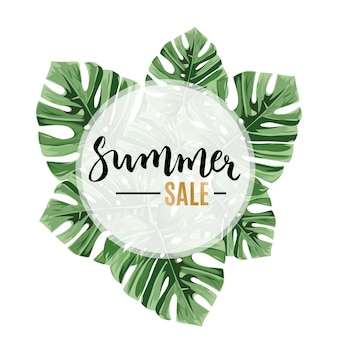 Sale banner, poster with jungle palm leaves.
