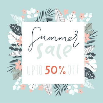 Sale banner poster with palm leaves jungle leaf tropical flowers and handwriting lettering